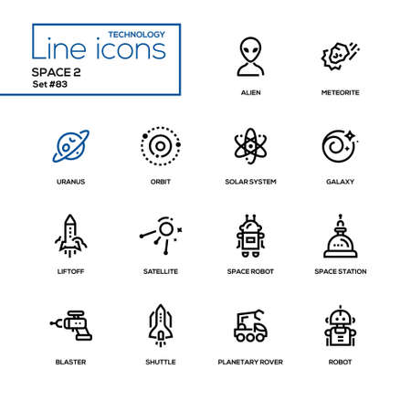 Space concept - line design icons set.
