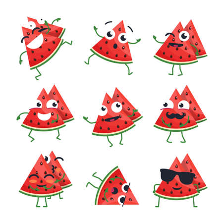 Funny watermelon - vector isolated cartoon emoticons. Cute emoji set with a nice character. A collection of angry, surprised, happy, cheerful, ill, crazy, laughing, sad fruit on white background
