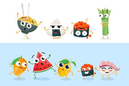 Funny sushi and fruit characters - set of vector isolated illustrations on white and blue background. High quality collection of cartoon emoticons showing different emotions, face expressions Vectores