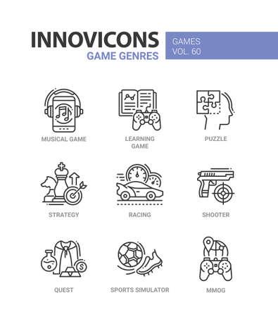 ゲームジャンル - ラインデザインアイコンセット。