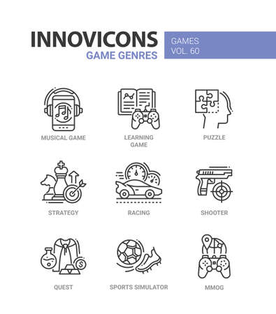 Game genres - line design icons set.