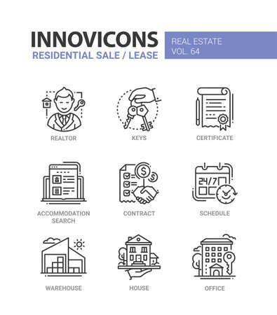 Residential sale and lease - line design icons set.