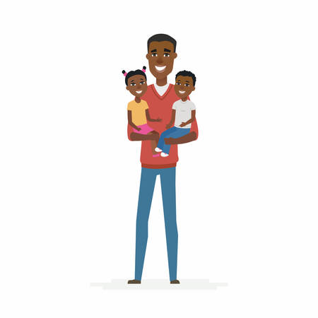 Young African father with babies - cartoon people characters isolated illustration.