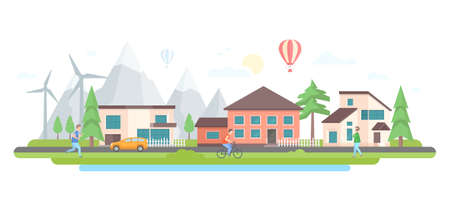 Landscape with hills - modern flat design style vector illustration on white background. Illustration