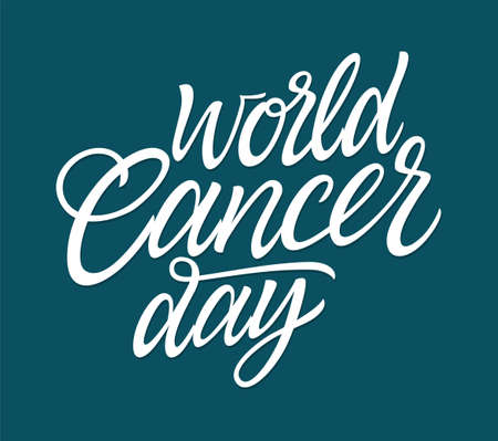 World Cancer Day vector hand drawn brush pen lettering. White text on blue background. High quality calligraphy for card, print, poster. Raise awareness on this global public health campaign. Ilustração