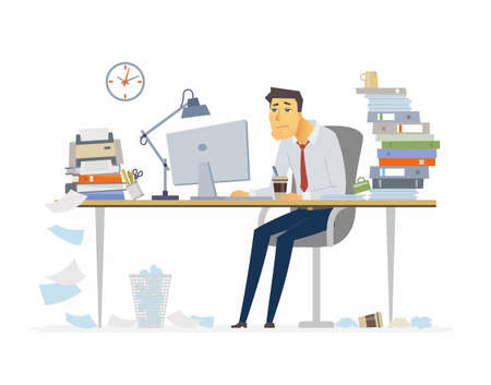 Tired office worker - modern cartoon people characters illustration on white background. Young man sitting at the desk and drinking coffee. A workplace with a lot of papers, folders. Deadline concept.