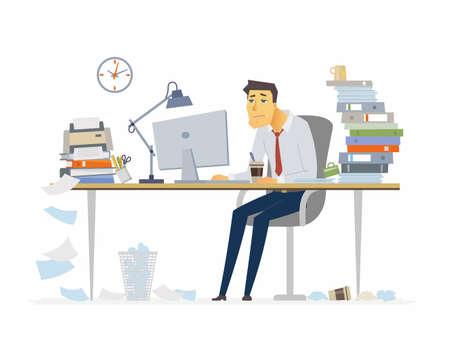 Müder Büroangestellter - moderne Karikaturleute-Charakterillustration auf weißem Hintergrund. Junger Mann, der am Schreibtisch sitzt und Kaffee trinkt. Ein Arbeitsplatz mit vielen Papieren, Ordnern. Fristenkonzept. Vektorgrafik