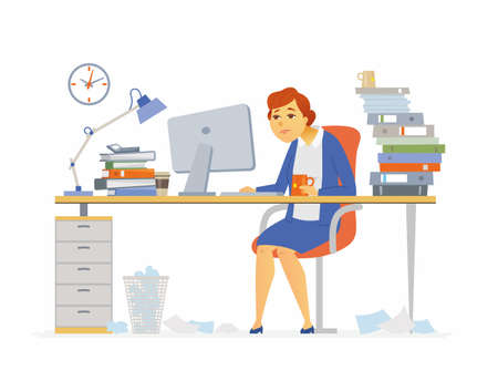 Tired office worker - modern cartoon people characters illustration on white background. Young exhausted woman drinking tea, sitting at the desk with a lot of papers, folders. Deadline concept.