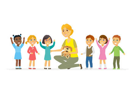 Nursery teacher with children - cartoon people characters isolated illustration on white background. Young kind smiling woman sitting with happy international kids and holding a toy. Illustration