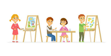 Children drawing in class - cartoon people characters isolated illustration on white background. Smiling happy boys and girls sitting and standing at the easels and making bright pictures. Stok Fotoğraf - 93087365