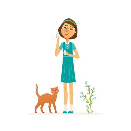 Meisje met een uitbarsting - de geïsoleerde illustratie van beeldverhaalmensen karakters op witte achtergrond. Een afbeelding van een schoolmeisje dat aan huidziekte of allergie lijdt, dat een zakdoek, een kat en een installatie dichtbij houdt Stockfoto - 93087462