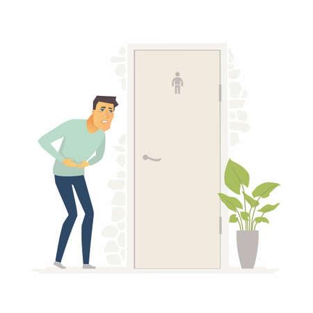 Der Mann, der unter Durchfall leidet - Zeichentrickfilm-Figuren lokalisierten Illustration auf weißem Hintergrund. Eine Person mit Bauchschmerzen, die vor dem Wasserklosett steht. Medizin- und Gesundheitskonzept Standard-Bild - 93087463