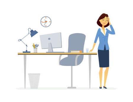 頭痛のサラリーマン - 漫画の人々は白い背景にイラストを隔離しました。頭を抱えてテーブルに立っている若い女性。コンピュータ、ランプ、椅子  イラスト・ベクター素材