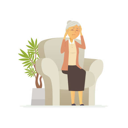 Senior woman with a headache - cartoon people characters isolated illustration 向量圖像