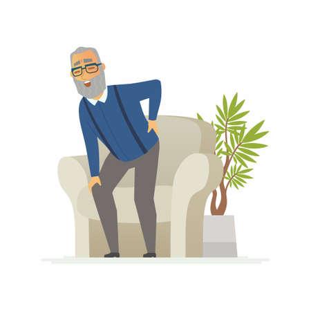 Hombre mayor con un dolor de espalda - los caracteres de la gente de la historieta aislaron la ilustración en el fondo blanco. Una persona mayor tratando de pararse, pero siente el dolor. Una imagen de una silla, una planta. Concepto médico