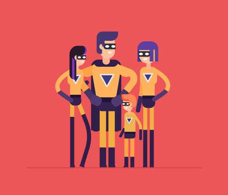 Superheroesfamilie - moderne vlakke ontwerpstijl geïsoleerde illustratie op rode achtergrond. Lachende vrolijke stripfiguren, jonge ouders met hun kinderen in speciale outfit Stock Illustratie