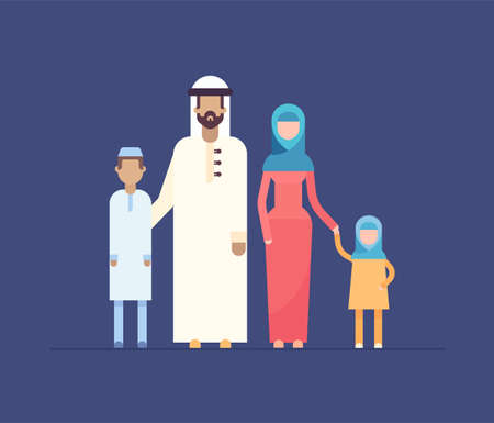 Muslim family - modern flat design style illustration isolated on blue background. Cartoon characters, mother, father with son and daughter standing together, wearing traditional clothes, veil