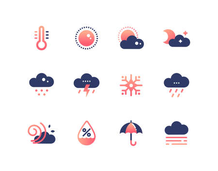 Weather types symbols - set of flat design style icons. High quality colorful images of thermometer, cloudy, rainy, snowy, windy, lightning, moisture level, umbrella, day, night