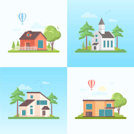 Country life - set of modern flat design style vector illustrations on blue background. Four images of small houses, church, trees, balloon, clouds