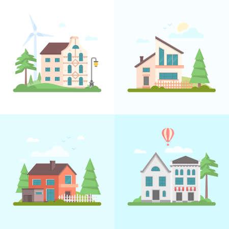 De gebouwen van Nice - reeks moderne vlakke vectorillustraties van de ontwerpstijl op blauwe achtergrond. Vier afbeeldingen van kleine huizen, café, bomen, ballon, wolken, windmolens, poorten, lantaarn, schuur