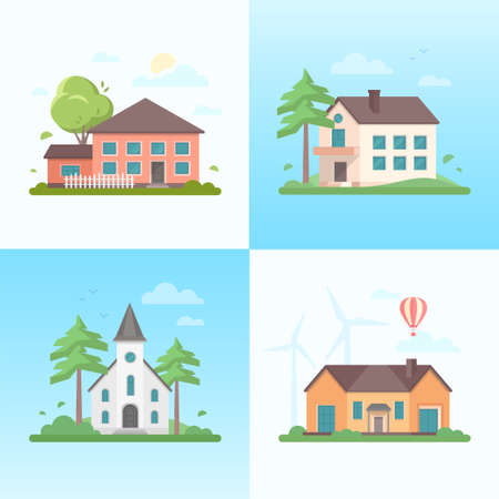 Nette Häuser - Satz moderne flache Designart-Vektorillustrationen auf blauem Hintergrund. Eine Sammlung von vier Bildern von kleinen Gebäuden, Kirche, Bäumen, Ballon, Wolken, Windmühlen, Vögeln Standard-Bild - 93087655