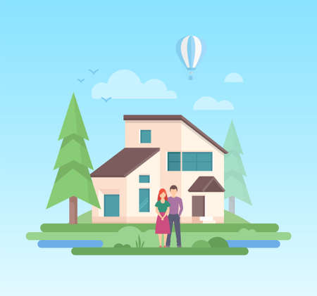 Country house - modern flat design style vector illustration on blue background. A composition with a couple standing in front of a small low-storey building, trees, balloon, clouds, sun