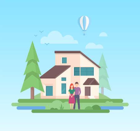 Landhaus - moderne flache Designart-Vektorillustration auf blauem Hintergrund. Eine Komposition mit einem Paar vor einem kleinen, niedrigen Gebäude, Bäumen, Luftballons, Wolken, Sonne Standard-Bild - 93087658