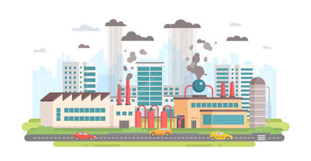 Cityscape with a factory - modern flat design style vector illustration on white background. A composition with a big plant making hazardous substances emissions with pipes. Air pollution concept Çizim