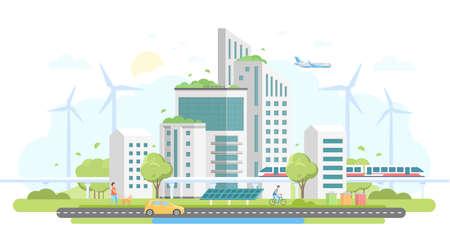 Logements écologiques - illustration vectorielle de design plat moderne style sur fond blanc. Beau paysage urbain avec des gratte-ciels, des moulins à vent, des panneaux solaires, une voiture, un train, des bacs, des gens, un avion