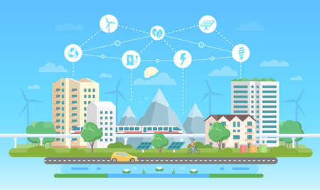 Eco-friendly city - modern flat design style vector illustration on blue background with a set of icons. A landscape with skyscrapers, mountains, car, road, pond. Recycling, saving energy concept