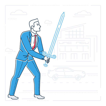 Businessman with a sword - line design style isolated illustration on white background. Metaphorical image of a person ready to fight with problems, difficulties. Silhouettes of buildings, cars