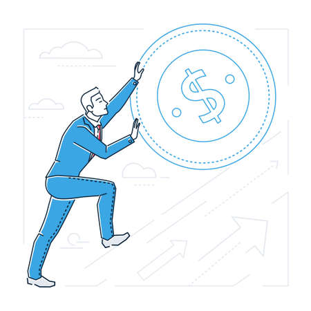 Businessman earning money - line design style isolated illustration on white background. Metaphorical image of a person rolling a dollar coin up the hill. Silhouettes of arrows and clouds Illustration