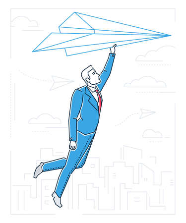 Businessman flying on a paper plane - line design style illustration on white background with silhouettes of clouds, city buildings. A young person dreaming, planning future, going towards the target Illustration