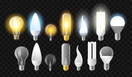 Set of light bulbs - realistic vector isolated clip art on transparent background. Glowing and turned off objects of different shapes and forms, Led and incandescent lamps Ilustrace