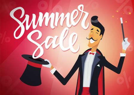 여름 판매 - 만화 사람들이 문자로 빨간색 배경에 서 예 텍스트. 고품질의 브러시 펜 글자. 모자 트릭을 하 고 마술사의 이미지. 할인, 쇼핑 개념