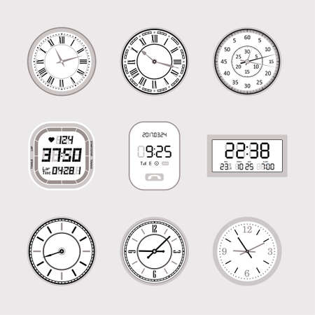Clocks - set of modern vector isolated objects