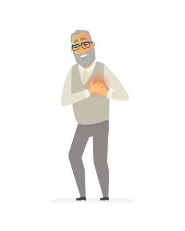 Senior man with a heartache cartoon people characters isolated illustration