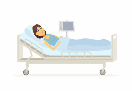 Woman lying in hospital bed cartoon people characters illustration Illustration
