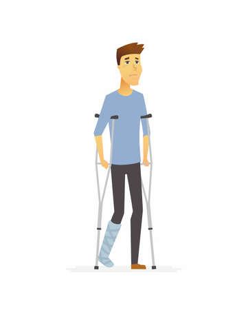 Young man on crutches cartoon people characters isolated illustration Illustration