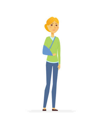 Woman with a broken arm cartoon people characters isolated illustration Vettoriali