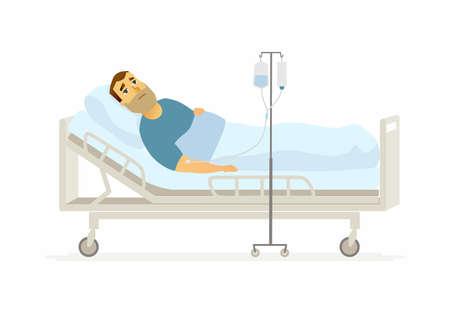 Homem no hospital em uma ilustração de personagens de pessoas de desenhos animados de gotejamento Foto de archivo - 93416325