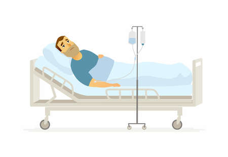 Man in hospital on a drip cartoon people characters illustration