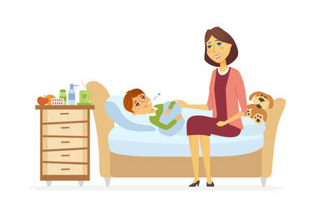 Mother with an ill boy cartoon people characters illustration