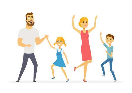 Happy family dancing modern cartoon people characters illustration Çizim