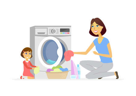 Girl helps mother with washing cartoon people characters isolated illustration Ilustrace
