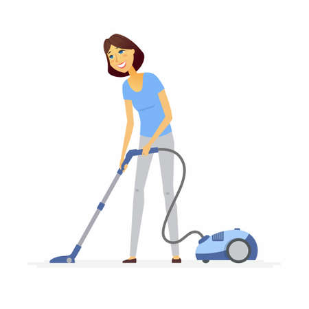 Young woman with a vacuum cleaner cartoon people characters illustration Vectores