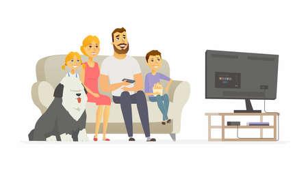 テレビ現代アニメの人々のキャラクターイラストを見て幸せな家族  イラスト・ベクター素材