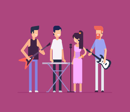 Musical band modern flat design style isolated illustration Çizim