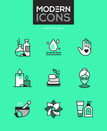 Beauty spa set of line design style icons
