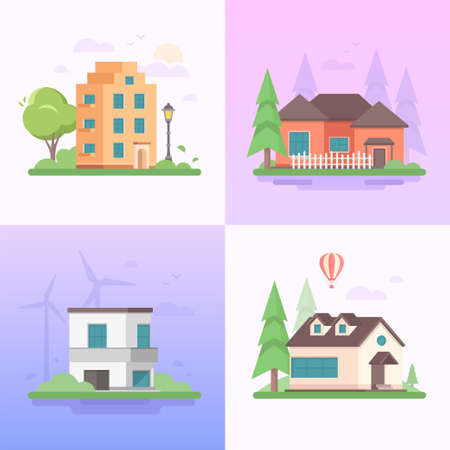 Eco-vriendelijke plaats - set van moderne platte ontwerp stijl vectorillustraties